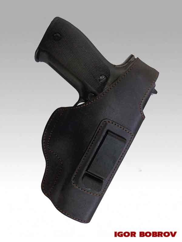Поясная кобура для SIG Sauer P226 скрытого ношения черная кожа